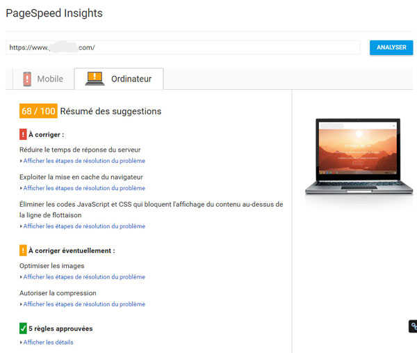 Google Page Speed Score